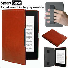 "For Amazon Kindle Paperwhite 6"" inch -Brown Leather Folio Strap Pouch"