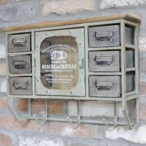 Vintage Industrial Wall Storage Drawer Cabinet With Key Hooks Glazed Cupboard