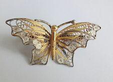 Antique Mark 800 Silver  Filigree Enamel Butterfly Brooch Pin
