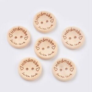 25pcs Wooden Buttons 2-Holes Handmade with Love Round 15mm 20mm 25mm