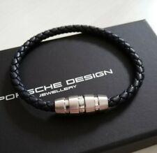 Porsche Design Leder Armband  leather bracelet Gr. 20 blau blue
