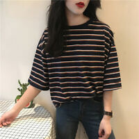 Women Striped Loose Tops Harajuku Short Sleeve T-shirt Funny Ulzzang Tops T GVU*