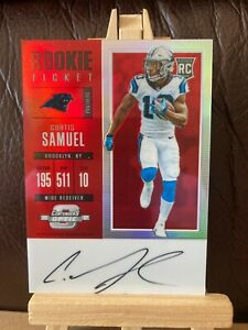 CURTIS SAMUEL NFL 2017 CONTENDERS OPTIC RED RC AUTO #/75 (PANTHERS,WASHINGTON)