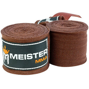"""MEISTER BROWN 180"""" MMA HAND WRAPS - Mexican Elastic Cotton Boxing Wrist New PAIR"""
