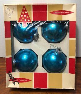 "Vintage Coby Glass Christmas Tree Ornaments Jumbo 4"" Original Box Blue"