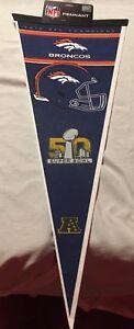 AUTHENTIC SUPER BOWL 50 2015 AFC CHAMPIONS DENVER BRONCOS OFFICIAL NFL PENNANT