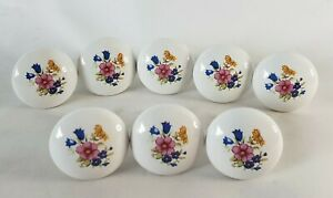 "Vintage Set x8 White Round Ceramic Drawer Knobs Cabinet Pulls Flowers 1 3/8"""