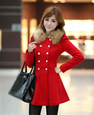 Women Winter Warm Fur Collar Long Coat Jacket Fashion Trench Overcoat Outwear