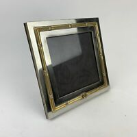 Authentic Gucci Vintage Silver and Gold Metal Square Desk Photo Frame
