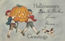 CHILDREN JOL DOG HALLOWEEN GREETINGS POSTCARD (c. 1910)