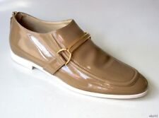 new $550 STELLA MCCARTNEY Morgana tan patent buckled bar loafers shoes 39.5 9.5