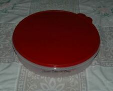 TUPPERWARE ROUND CAKE PIE TAKER CONTAINER SHEER & RED