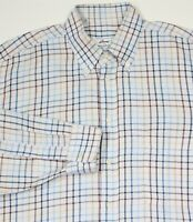 BRIONI Recent Sky Blue Twill Checkered Cotton Dress Shirt~ XL