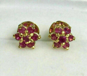 Estate 2 Ct Round Cut Ruby Flower Cluster Stud Earrings In 14K Yellow Gold Over