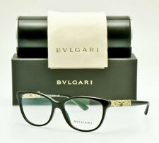 NEW BVLGARI 4126B 501 Womens Eyeglass Frame Black Gold Crystal 55mm ITALY