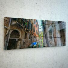 125x50cm Wall Art Glass Print Canvas New Picture Large Boat City Venice p227417