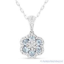 0.61 ct Round Cut Blue Topaz Gem Diamond 14k White Gold Flower Necklace Pendant