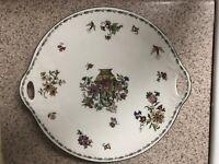 Roslyn Garland Double-Handled Cake Plate Fine Bone China Pink Blue Gold Purple