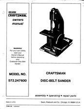 Craftsman 572.247600  Disc-Belt Sander Manual & Parts List Instructions
