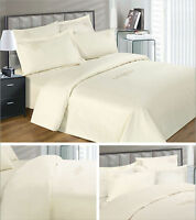 100% EGYPTIAN COTTON 330 T/C LUXURY CREAM EMBROIDERED SCROLL DUVET COVER BED SET