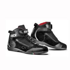 Stivali da uomo nere in pelle sintetica per motociclista