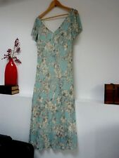 Ladies Lovely BHS Blue & Cream Floral Calf Length V Neck Party Dress 12, Vgc