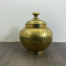 Vintage Small Brass Pot With Lid India 1973