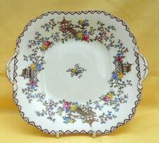Tab handled square cake / bread plate - vintage Aynsley bone china - tea party