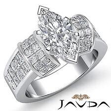 Exquisito Marquesita Diamante Fino Anillo de Compromiso GIA F VS2 14k Oro Blanco