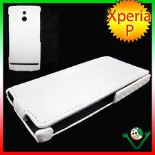 Custodia CARBON BIANCO per Sony Xperia P LT22i eco pelle sottile foderino case