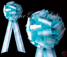 """TEAL BLUE WHITE WEDDING 9"""" LACE PULL BOW PEW BRIDAL"""