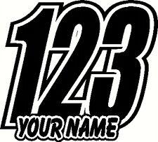 Custom Race Numbers and Name x3 Vinyl Stickers/Decals Motorbike Motorcross