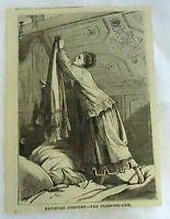 small 1882 magazine engraving ~ RAILROAD COMFORT, woman in train SLEEPING-CAR