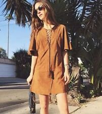 Rare S_NWT ZARA Tobacco Braided Goat Leather Suede Lace Up Dress R.2915/051