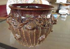 19thC Folk Arts Crafts Brown Glaze Jardiniere Artist sgnd for Doctor Victor NY