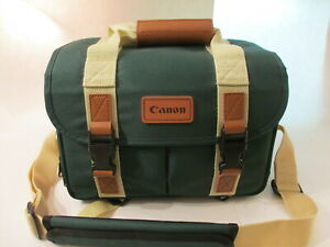 Retro Canon Camera Bag Organizer Green Pockets Shoulder Strap DSLR Carry Case