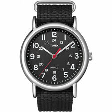 Timex T2N647, Men's Weekender Black Fabric Watch, Indiglo, 38MM Case