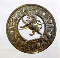 Vintage Silver Plate Metal Large Lion Rampant Pin Thistle Brooch Great Britain