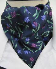 Mens Navy with Purple Tulip Design 100% Silk Ascot Cravat & Handkerchief