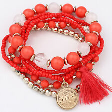 Fashion Womens Bohemian 1 Set Multilayer Coin Acrylic Beads Bracelet Xmas Gifts Red