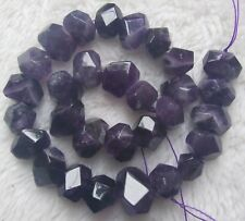 """13x18mm Natural Amethyst Faceted Freeform Loose Beads 15.5"""""""