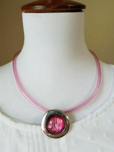 Vintage Pink Glass Necklace Earrings Set Silver Tone Choker Style Adjustable