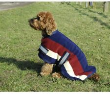 Dog Coat Fleece, Striped Navy, Burgundy  20 Inches