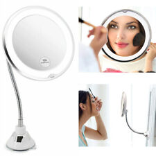 "10X Magnify Suction Cup Makeup Flexible Mirror 7"" Goodneck 360 Degree +Led Light"