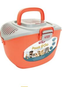 Living world paws to go pet carrier new orange small animal rabbit rat