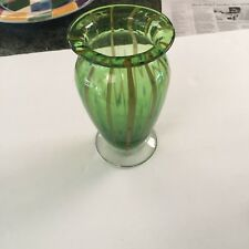 Green Glass Vase ~ 7 ¼ in tall ~ Decorative Gold stripes