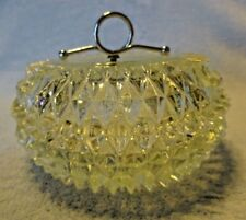 Candy Nut Dish & Lid with silver handle in Diamond Point Clear Indiana Glass