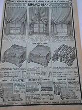Pub Ancienne 1935 Articles pour l'ameublement Rideaux Blanc Linge de table etc