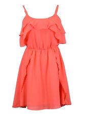En Creme Darling Flowy Butterfly Ruffle Neckline Crochet Dot Hem Coral Dress