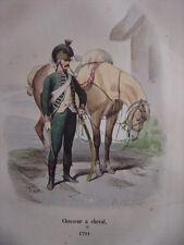 Gravure d'un CHASSEUR A CHEVAL en 1791